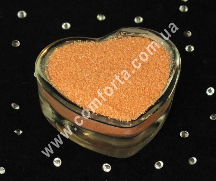 Цветной песок мраморный персиковый, вес ~ 1 кг, фракция ~ 0,2 - 0,5 мм