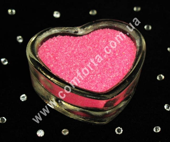Цветной песок мраморный ярко-розовый, вес ~ 1 кг, фракция ~ 0,2 - 0,5 мм