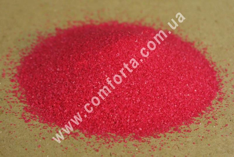 Цветной песок мраморный малиновый, вес ~ 1 кг, фракция ~ 0,2 - 0,5 мм