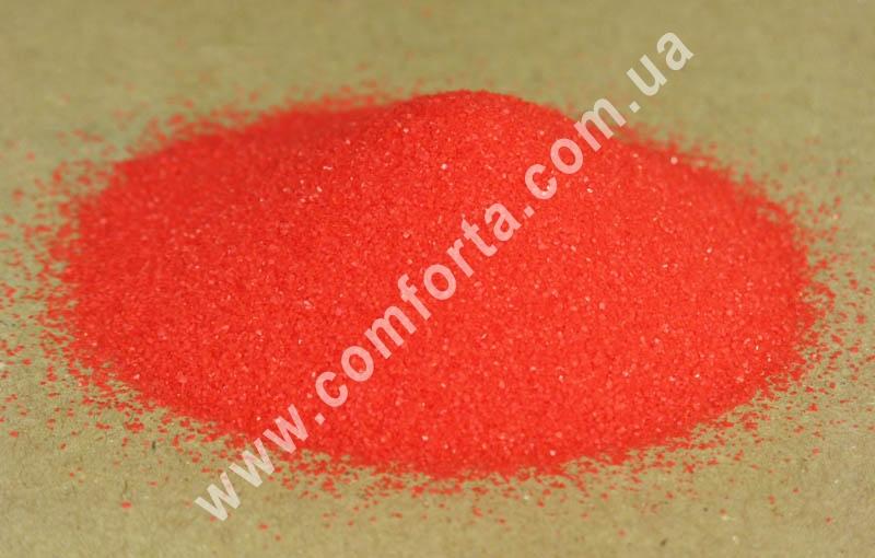 Цветной песок мраморный красный, вес ~ 1 кг, фракция ~ 0,2 - 0,5 мм