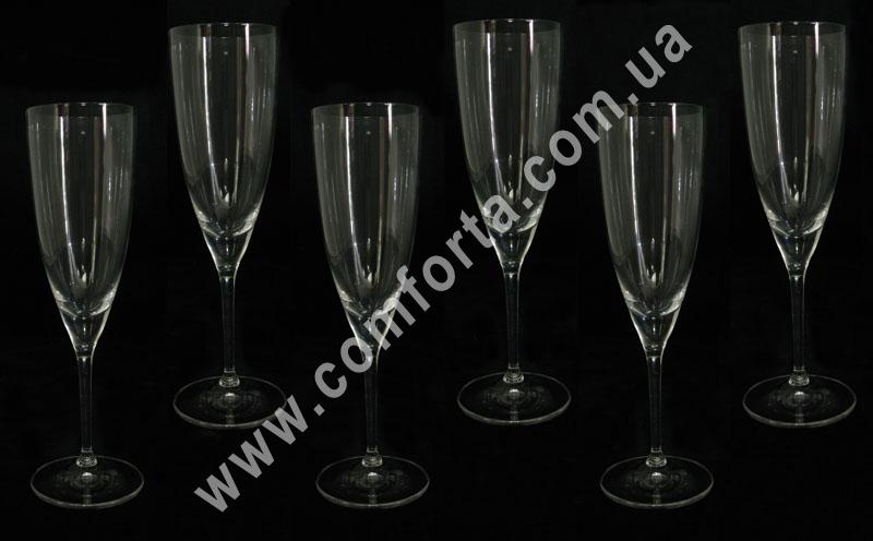 бокалы для шампанского, высота - 25 см, диаметр - 7 см, в наборе - 6 шт