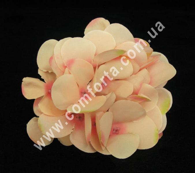 головка гортензии розовая, диаметр - 13 см, материал - ткань