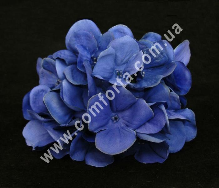 головка гортензии синяя, диаметр - 13 см, материал - ткань