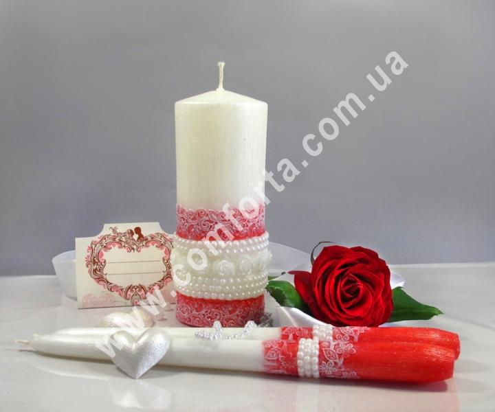 свадебные свечи для зажжения обряда семейный очаг, цвет красный