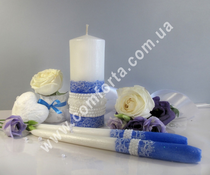 свадебные свечи для зажжения обряда семейный очаг, цвет синий