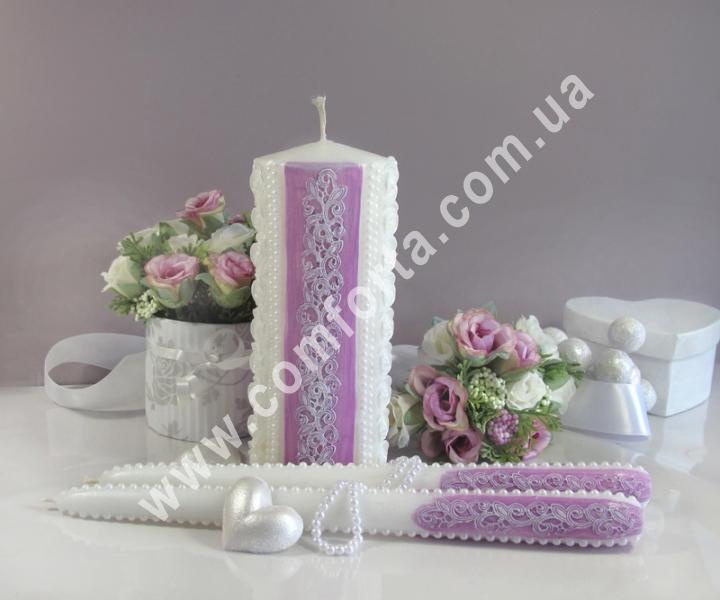 свадебные свечи для зажжения обряда семейный очаг, цвет пурпурный