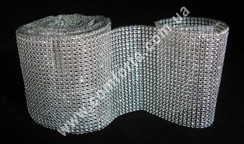 декоративная лента из страз в бобине шириной 12 см, цвет - серебристый