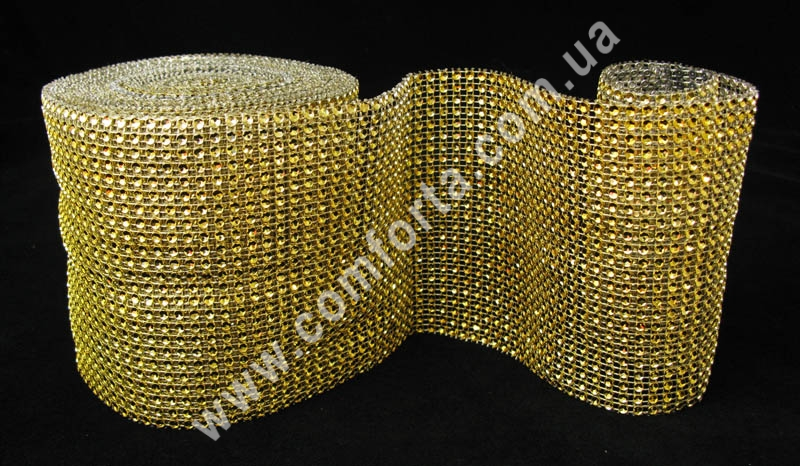 декоративная стразовая лента в рулоне, цвет - золото