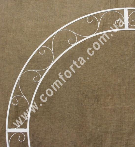 круглая плоская свадебная арка, высота - 2,12 м, ширина - 2,1 м, каркас металлический, цвет - белый
