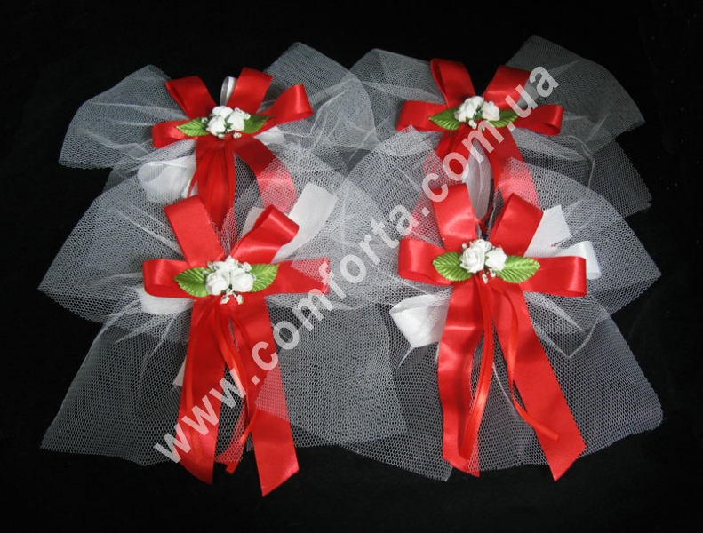 ada9627e0f29af 30936-11 Червоний бант, прикраси на ручки автомобіля (набір 4 шт), весільний  декор ― Комфорта - весільний ...