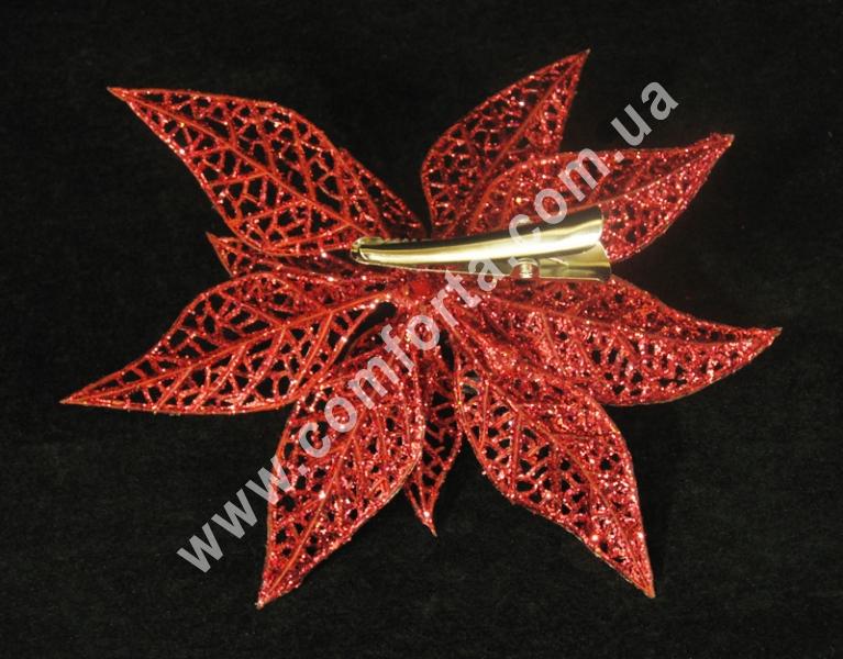 головка пуансеттии в блестках, диаметр - 13 см, цвет - красный
