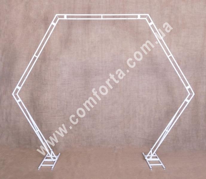шестиугольная свадебная арка, высота - 2,17 м, ширина - 2,63 м, материал - металл