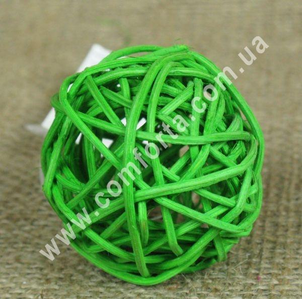 ротанговый шарик для декора, диаметр - 5 см, цвет - зеленый