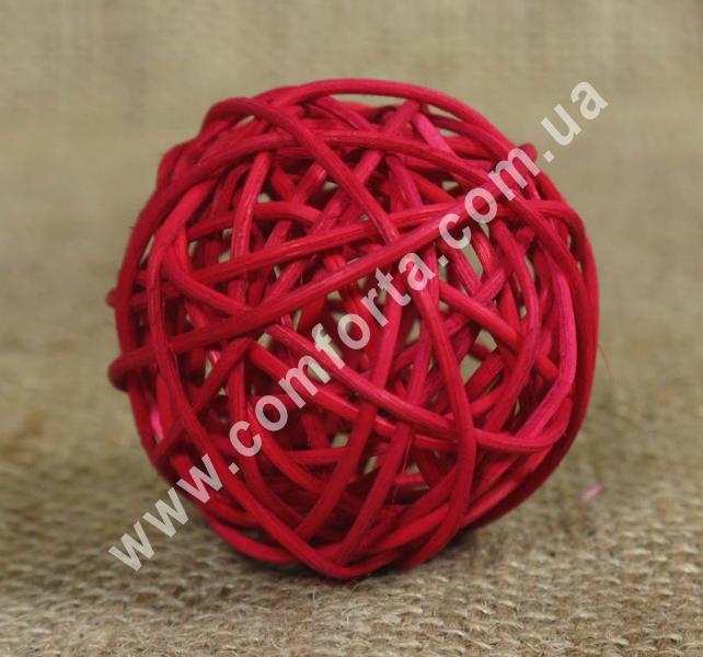ротанговый шарик для декора, диаметр - 5 см, цвет - бордовый
