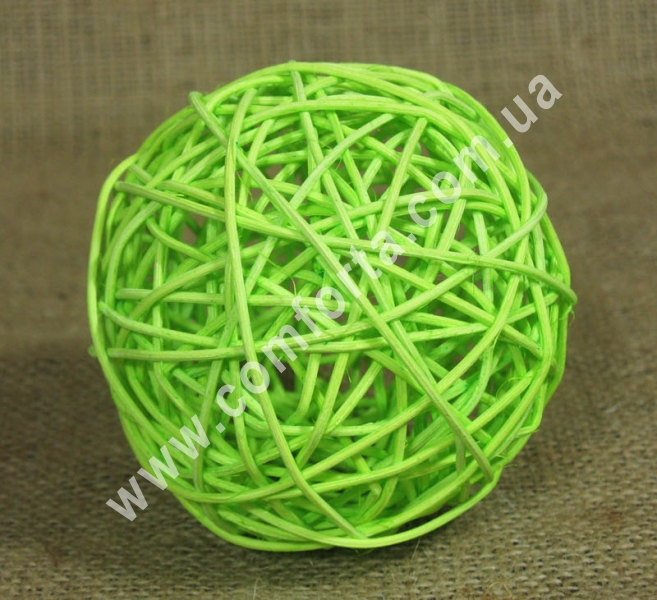ротанговый шарик для декора, диаметр - 10 см, цвет - салатовый