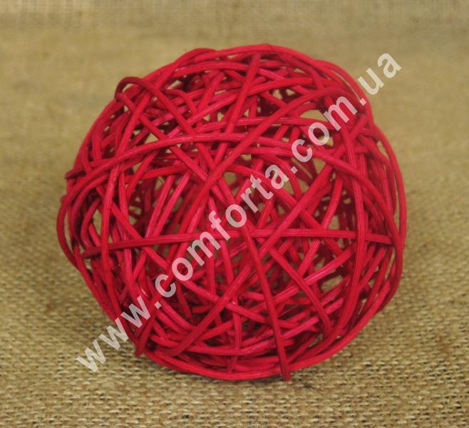 ротанговый шарик для декора, диаметр - 10 см, цвет - бордовый