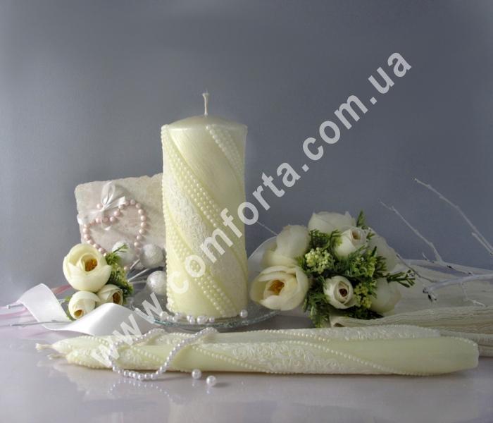 свадебные свечи для зажжения обряда семейный очаг, цвет кремовый пастельный