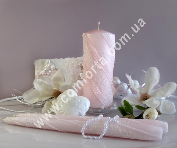 свадебные свечи для зажжения обряда семейный очаг, цвет розовый пастельный