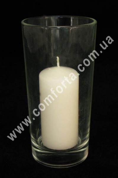 стеклянный подсвечник в форме стакана, высота - 14 см, диаметр - 7 см