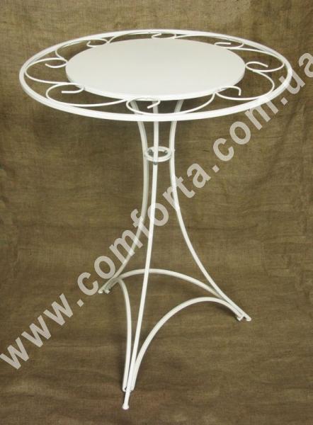 разборной столик с декоративной столешницей, высота - 80 см, диаметр - 60 см, материал - металл