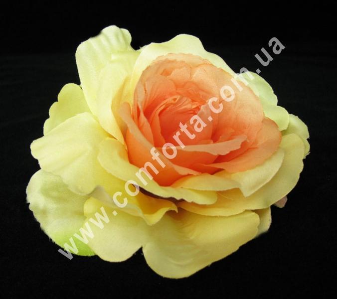 искусственная головка розы, диаметр - 13 см, цвет - кремово-персиковая