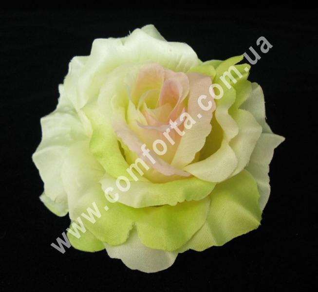 искусственная головка розы, диаметр - 13 см, цвет - зеленый с розовинкой