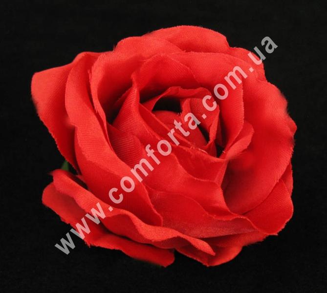 искусственная головка розы, диаметр - 8 см, цвет - красная