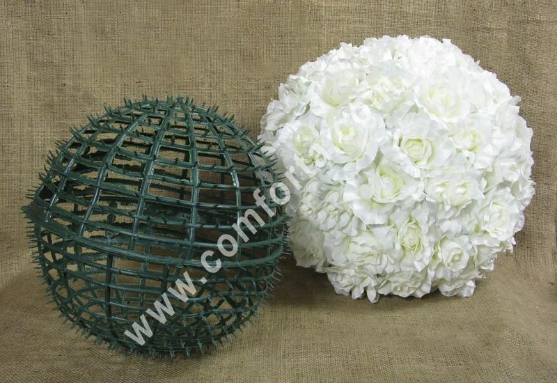 основа шар для флористических композиций из искусственных цветов, диаметр - 30 см, материал - пластик