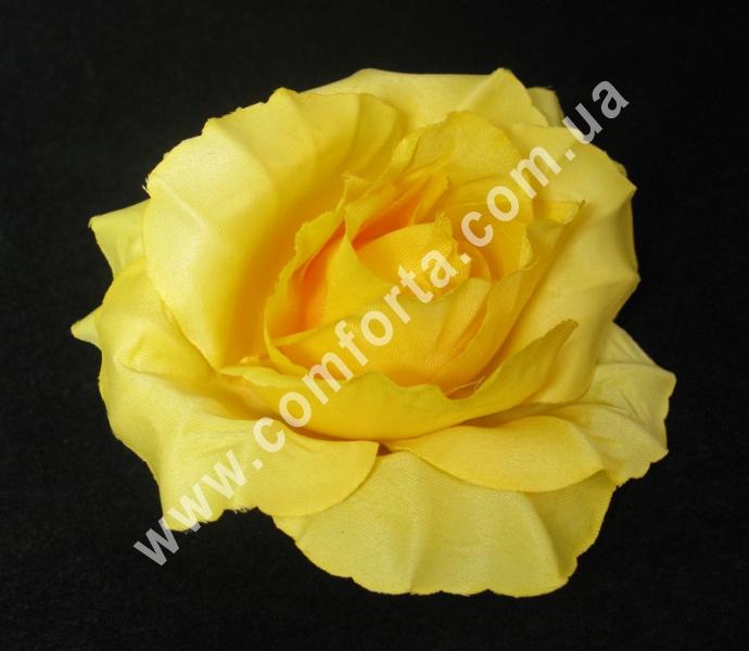 искусственная головка розы, диаметр - 11 см, цвет - светло-персиковая