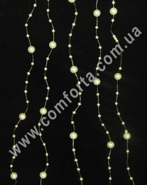 жемчужные бусины на леске, длина - 130 см, подвесной декор, цвет - кремовый