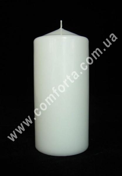 классическая парафиновая свеча в  форме цилиндра, высота - 15 см, диаметр - 7 см, цвет - белый