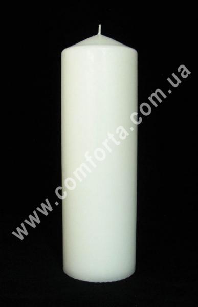 классическая парафиновая свеча в форме цилиндра, высота - 25 см, диаметр - 8 см, цвет - белый