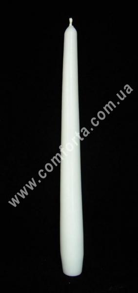 тонкая свеча в форме конуса, высота - 24,5 см, диаметр - 2,3 см, цвет - белый