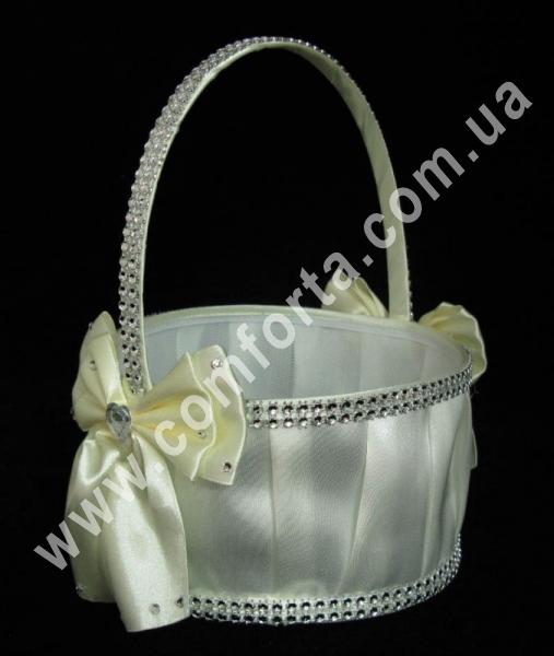 свадебная корзинка для лепестков роз с декором из атласного банта и кристаллов, цвет - кремовый