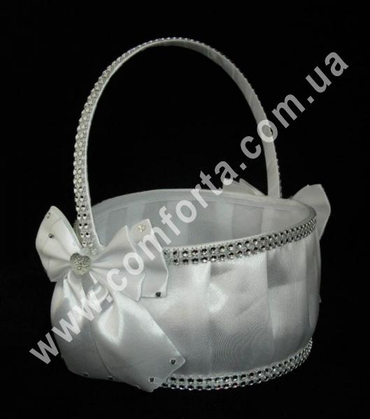 свадебная корзинка для лепестков роз с декором из атласного банта и кристаллов, цвет - белый