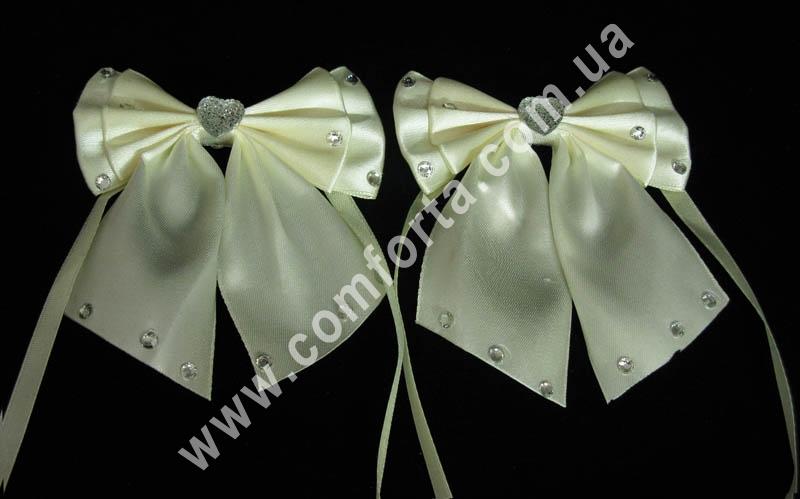 декоративные атласные банты с завязками, цвет - кремовый, количество - 2 шт
