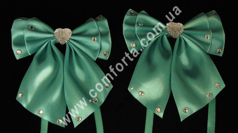 декоративные атласные банты с завязками, цвет - изумрудный, количество - 2 шт
