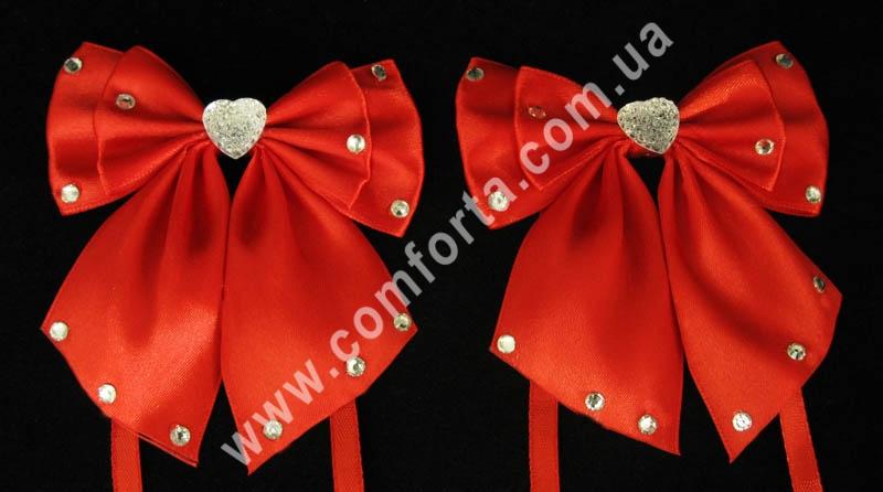 декоративные атласные банты с завязками, цвет - красный, количество - 2 шт