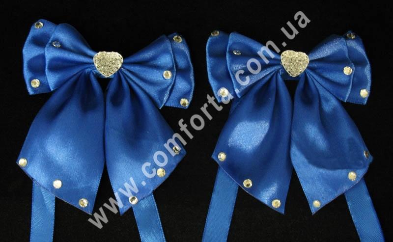 декоративные атласные банты с завязками, цвет - синий, количество - 2 шт