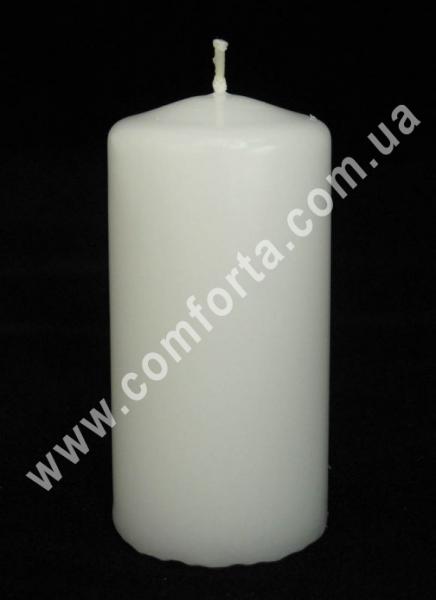 классическая парафиновая свеча в  форме цилиндра, высота - 8 см, диаметр - 4 см, цвет - белый