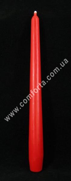 тонкая свеча в форме конуса, высота - 24,5 см, диаметр - 2,3 см, цвет - красный