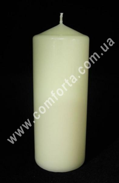 классическая парафиновая свеча в форме цилиндра, высота - 15 см, диаметр - 6 см, цвет - кремовый