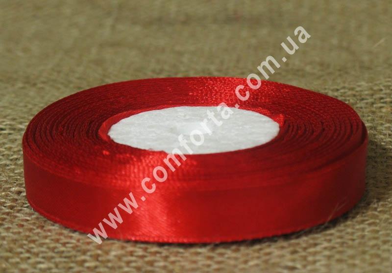 лента атласная, ширина - 1,2 см, длина - 23 м, цвет - красный