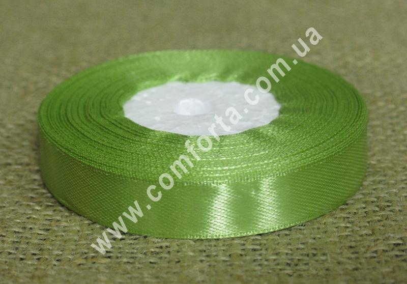 лента атласная, ширина - 1,2 см, длина - 23 м, цвет - оливковый