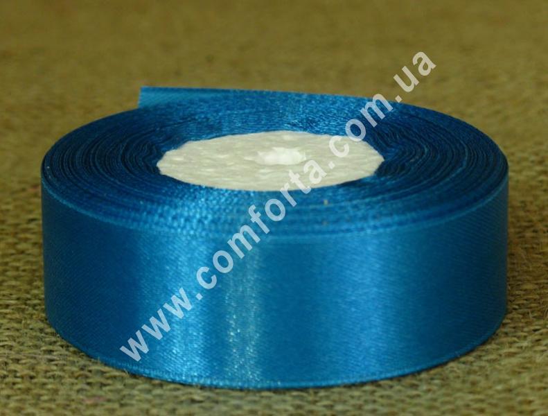 лента атласная, ширина - 2,5 см, длина - 23 м, цвет - светло-синий