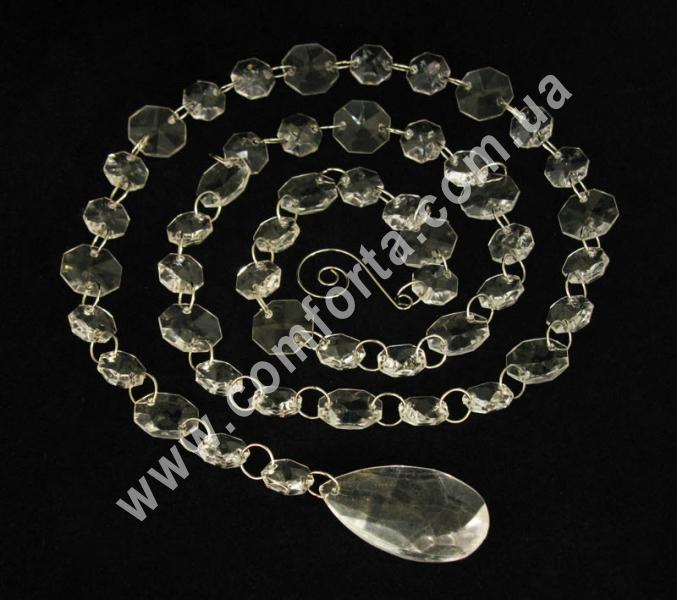 декоративная подвеска из акриловых кристаллов с окончанием  в виде капли, длина - 108 см