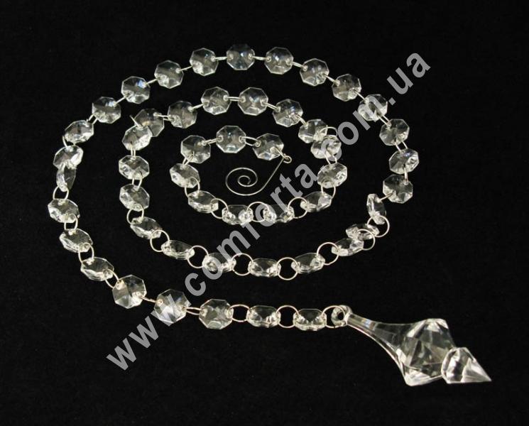 декоративная подвеска из акриловых кристаллов с окончанием  в виде ромбика, длина - 110 см