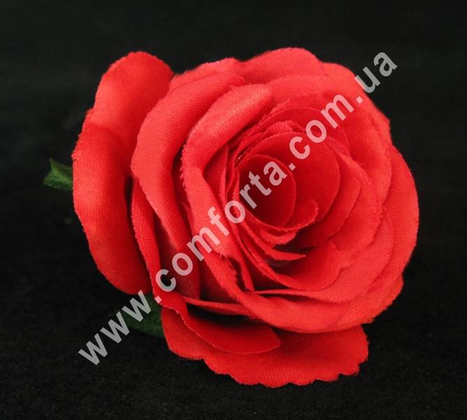 искусственная головка розы, диаметр - 6 см, цвет - красный