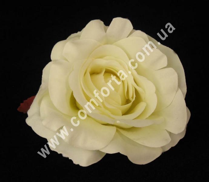 искусственная головка розы, диаметр - 9 см, цвет -кремовый