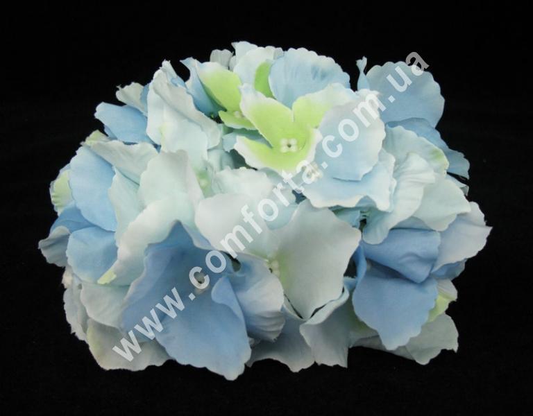 головка гортензии голубая, диаметр - 15 см, материал - ткань